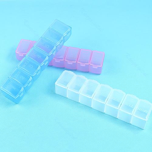 G104Wholesale New Mini Week 7Days Medicine Pill Drug Storage Box Case Pillbox Container Free Shipping(China (Mainland))