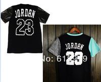 2014 spring and summer short sleeve fashion and casual hip hop jordan 23 shirt men leather sleeve t shirt pyrex hba YEEZY