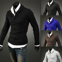 Free shipping New 2014 spring Pullovers Button mushroom design pure color Men's long sleeve man Sweater