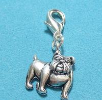 50pcs Wholesale Fashions Vintage Silvers Bulldog Dog Charms Pendants Clasp Clip Fits  Bracelet For Women DIY Jewelry P1667