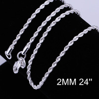 N216Promotion! wholesale 925 silver necklace, 925 silver fashion jewelry Chain 16 18 20 22 24 inch  Necklace ,Men,Women, Chains