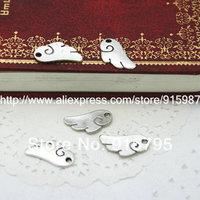 100pcs/lot 18*9mm Antique silver angel wings pendants Jewelry Charm Pendants Findings Fit Jewelry Making  YM-0018