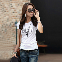 Spring 2014 print slim simple paragraph short-sleeve T-shirt plus size women's 100% cotton letter t shirt top