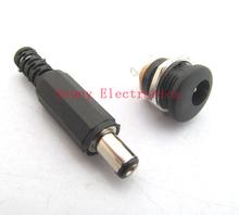 2.1x5.5mm DC Power Female Plug Jack + Male Plug Jack Connector Socket Adapter free shipping(China (Mainland))