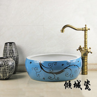 Ceramics wash basin art basin wash basin wash basin counter basin antique thickening tube 9
