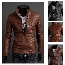free shipping 2013 new men's leather jacket Slim leather jacket PU 3 color 4 size hot sale(China (Mainland))