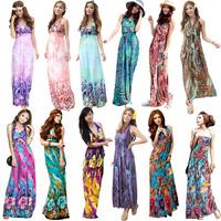 New 2014 Milk silk One-Piece Summer Long Dress Bohemia Halter-Neck Strapless Beach Dress Sundress 13 Colors