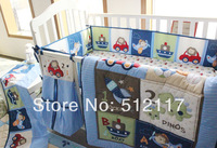 hot sell 2014 New Blue Cars Airplan Boy Baby Crib Cot Bedding Set 5 items Including Comforter Bumper Fitted Sheet