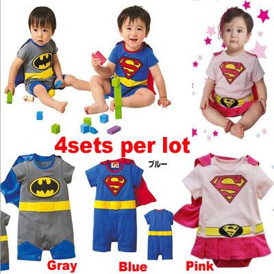 New 100% cotton Baby boy girls cartoon bodysuit costume Superman&Batman Baby suit baby clothing 2014 summer fashion style(China (Mainland))