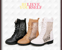 Free Shipping! New 2014 spring and autumn cutout boots  flat heel boot  female summer cool boots  net boot women shoes