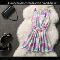 Spring New 2014 European American Brand Cute Dresses , Ladies Printing Lace Dress Woman Sleeveless Tank Dress