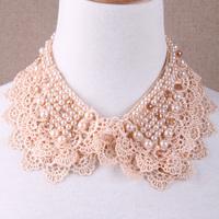 Vintage pearls laciness false collar sweater women's collar female all-match decoration