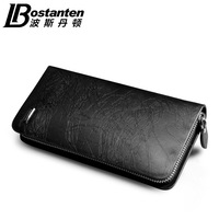 Bostanten fashion designer men steam wallets long zipper credit card holder clutch wallets