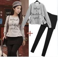 (Sweatshirt+Trousers+Skirt) 2014 European Star Style Sport Suit Women Clothing Set Letter Print Hoodie Sportswear Tracksuit
