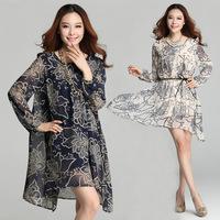 2014 vintage print high waist long-sleeve expansion bottom one-piece dress loose plus size chiffon full dress