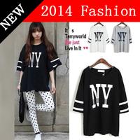 Free Shipping Plus Size 5XL French Brand Black White Gray Cotton T-shirt 2014 Women Letter Print T Shirt Baseball Clothes 47H