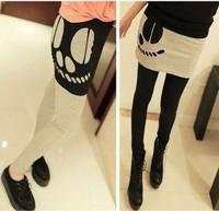 skirt legging sets women 2014 spring and autumn slim hole punk skull faux two piece skirt legging women
