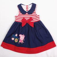 Retail New Arrive Cotton peppa pig summer girl dress