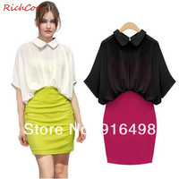 2014 new style fashion lapel stitching sleeve chiffon skirt women dress Free shipping 7107