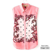 HZA076 Brand New Fashion Women Elegant Stars Print Shirts Turn-down Collar Sleeveless Slim Chiffon Sweet Pink OL Blouses Tops