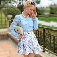 Lovable Secret - Chiffon shirt female long-sleeve 2014 spring women's flower long-sleeve shirt  free shipping