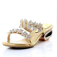 Free Shipping! women's rhinestone noble gold and silver slippers of luxury female low-heeled sandals