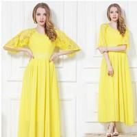 Free Shipping High Quality 2014 New Arrival Half Sleeve Lace Bohemian Long Beach Chiffon Dress Yellow