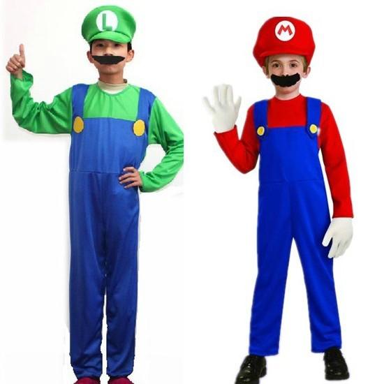 Kids Super Mario Luigi Bros Fancy Dress Plumber Game