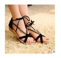 FREE SHIPPING  Spring and summer flat heel women casual sandals beaded lacing gladiator small wedges shoes