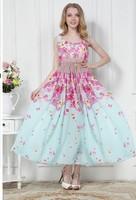 Free Shipping High Quality New Arrival Fashion Flower Printed Collect Waist Long Beach Chiffon Dress Sky Blue