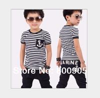 retail summer  children/kids short-sleeves marine stripped t shirt shirts boy  tops top + pants boys  2 pces set
