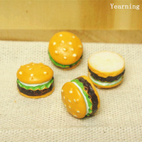 Yearning Jewelry Accessories DIY Flat back Resin Dessert Cabochon Hamburger Fit Mobile phone Hairpin Headwear 12MM 50pcs