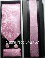 New Silk Classic Paisley JACQUARD WOVEN Men's Tie Cufflink Hanky Set Necktie 003