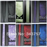 New Silk Classic Paisley JACQUARD WOVEN Men's Tie Cufflink Hanky Set Necktie 001