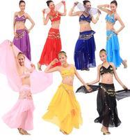 Belly Dance Set Clothing Set New 2014 Women Womens Top Skirt Veil Belt Bellydance Costume Gypsy Dancewear Free Shipping CCE F0