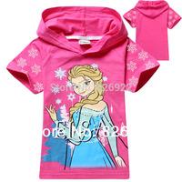 6pcs / lot Summer kids & baby Girls Frozen T-shirt Elsa Short sleeve Cotton Frozen Elsa girls short t-shirt boy hoodies