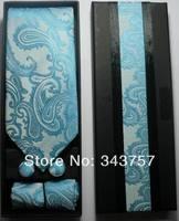 New Silk Classic Paisley JACQUARD WOVEN Men's Tie Cufflink Hanky Set Necktie 005