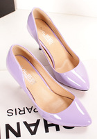 Fashion New Candy Color PU leather lady's Pointed Toe 7cm High Thin Heel Pumps shoes work shoes Wedding Shoes
