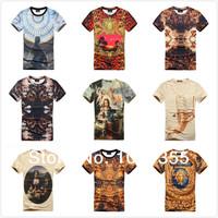 2014 New Style Summer Unquie 3D Punk Oli Paint Printing Renaissance Europe USA Short Sleeve Cotton Man T-shirt Clothes M L XL