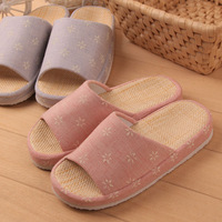 Pettimelo spring and autumn summer home slippers platform waterproof floor opening basin straw mat cotton-padded slippers