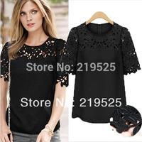 New Plus Size Lace Shirts Women Hollow Out Blusas Atacado Roupas Femininas 2014 Blouses Clothing T57