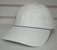 Free shipping simple promotional baseball cap 6 panel cap sport hat-white with blue back closure