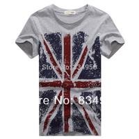 HOT NEW 2014 Man Summer T-shirt Tees Flag Pattern O-neck Casual Shirt Men Clothing Plus Size M L XL XXL 3XL 4XL Free Shipping