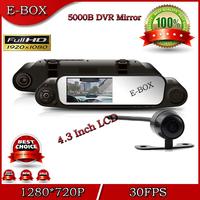 "2014 New Car DVR Mirror 5000B HD 720P 30FPS Dual Lens Car Camera 4.3""LCD G-Sensor H.264 +Rear view camera Free shipping"