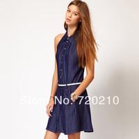 Denim tannase denim cotton cloth turn-down collar sleeveless Dark Blue one-piece dress with belt haoduoyi