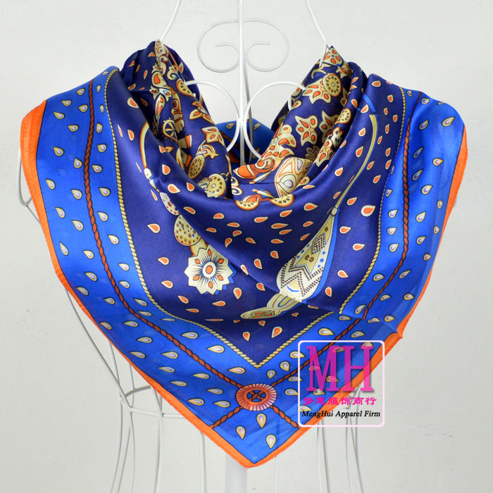 90*90cm Dark Blue 100% Mulberry Silk Scarves,Hot Sale Butterfly Pattern 100% Silk Crepe Satin Scarf Shawl Printed(China (Mainland))