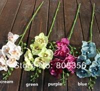 "European Flowers 8Pcs 49cm/19.29"" Length Four Colors Artificial Simulation Mini America Vanda Phalaenopsis Home Decoration"