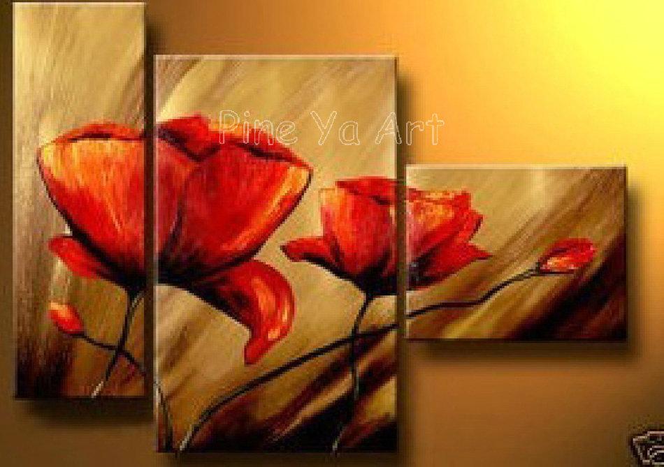 Piece Abstract Modern Canvas Wall Art Cheap Handmade Red Poppy
