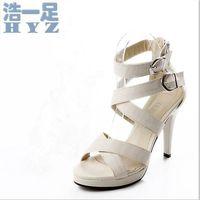 New arrival plus size shoes 2014 high-heeled shoes platform buckle sandals open toe sandals beige