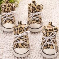 4pcs/lot Pet Leopard Shoes Dogs Walking Sneaker Anti-skidding Footwear Canvas Shoes Suppliers